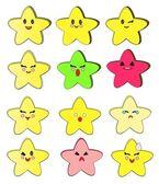Set of twelve cartoon stars. — Stock Vector