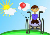 Happy disabled boy is under the sun. — Stock Vector
