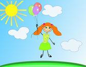 Szczęśliwa dziewczyna jest latające balony pod słońcem. — Wektor stockowy