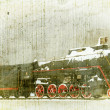 Handmade postcard with old steam locomotive — Stock Photo