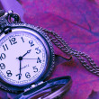 Abstract fall background with a pocket watch — Stock Photo