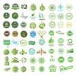 Set of eco friendly, natural and organic labels. — Cтоковый вектор