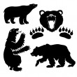 Bears silhouette collection - vector - Stock Vector