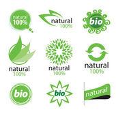 Eco, natural and organic symbols or logos — Stock Vector