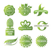 Eco, natural and organic symbols or logos — Stock Vector