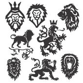 Stylized heraldic lions — Stock Vector