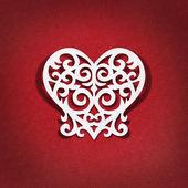 Le cœur du livre blanc sur fond rouge — Photo