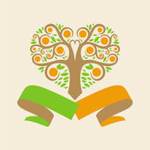 Wedding logo with an orange tree in the form of hearts and ribbo — Vecteur