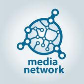 Vektor logotypen och elektroniska medier nätverk — Stockvektor