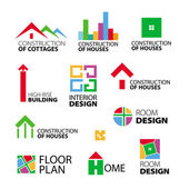 Collection of vector logos construction and repair of houses — Stock Vector