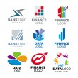 Stock Vector: Collection of vector logos for banks and finance companies