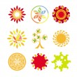Collection of vector logos in the form of the sun - Stock Vector