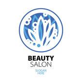 Blue ball of leaves logo for beauty salon — Stock Vector