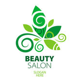 Composition of green leaf logo for beauty salon — Stock Vector
