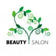 Logo tree heart of green leaves in the beauty salon — Stock Vector #26358171