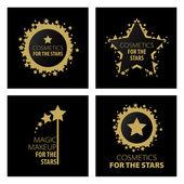 Collection of vector logos magic makeup for the stars — Stock Vector