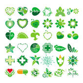 Collection of vector logos health and the environment — Stock Vector