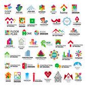 коллекция векторных логотипов строительство и дом улучшение — Cтоковый вектор