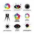 Stock Vector: Collection of vector logos for photographers and photo
