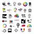 图库矢量图片: Collection of logos tv, video, photo, film