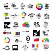 Raccolta di video, foto del logo tv, pellicola — Vettoriale Stock