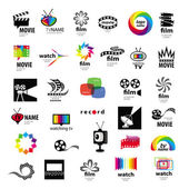 Collectie van logo's tv, video, foto, film — Stockvector
