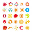 Collection of abstract symbols of the sun — Stok Vektör