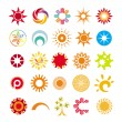 Collection of abstract symbols of the sun — 图库矢量图片