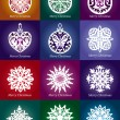 Collection of vector lacy snowflake Christmas decoration — Stock Vector