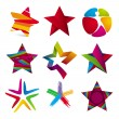 Stock Vector: Vector collection of colorful stars signs