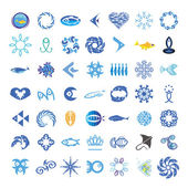Collection of vector icons with the fishes — Stock Vector