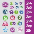 Collection of vector icons with numbers dates anniversaries — Vecteur #31742105