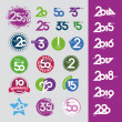 Stockvector : Collection of vector icons with numbers dates anniversaries