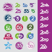 Collection of vector icons with numbers dates anniversaries — Stock Vector