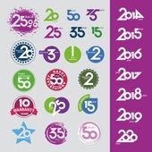 Zbiór ikon wektor z numerami daty rocznic — Wektor stockowy