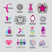 Collection of vector logos fashion accessories and clothing — Stock Vector