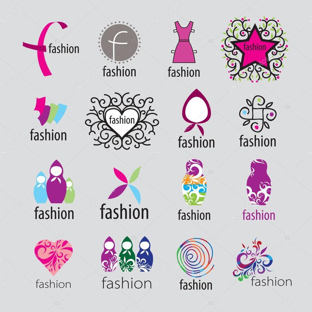 Colección de ropa y accesorios de moda vector logotipos \u2014 Vector de stock 32740419