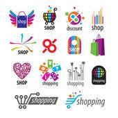 Collection of vector logos and shopping discounts — Stock Vector