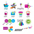 Stock Vector: Collection of vector logos shopping and card
