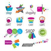 Collection of vector logos shopping and card — Stock Vector