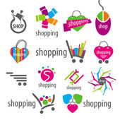 Collection of vector logos and shopping discounts basket — Stock Vector
