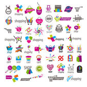 Large collection of vector logos and shopping discounts basket — Stock Vector