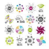 Samling av vektor logotyper Wifi-anslutning — Stockvektor