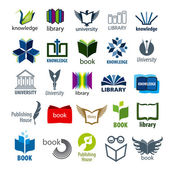 Biggest collection of vector logos books and pens — Stock Vector