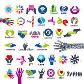 Biggest collection of vector logos hands  — Stock Vector