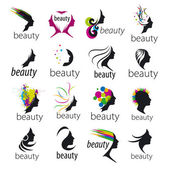 Collection of vector logos beautiful female face — Stock Vector
