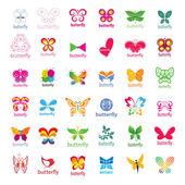 Biggest collection of vector logos butterflies — Stock Vector