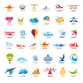 Biggest collection of vector logos flights  — Stock Vector