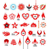 Biggest collection of vector logos fire and flames  — ストックベクタ