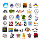 Biggest collection of vector logos hotels for leisure tourism — Stock Vector